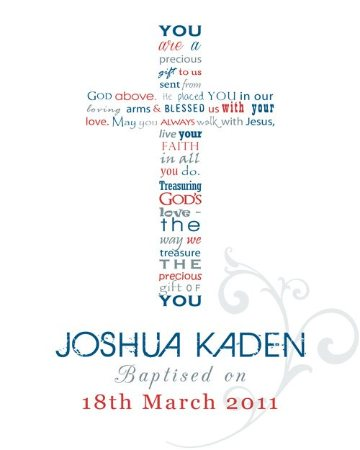 Christening Personalised Framed Word Art Print