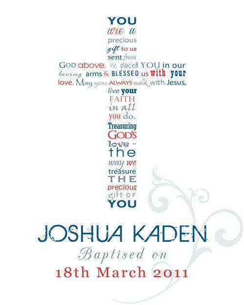 Personalised Word Art Framed Print - Christening Verse