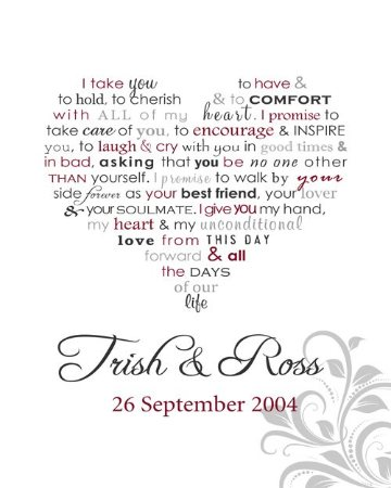 Wedding Vows Personalised Framed Word Art Print