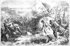 First black troops in combat from Harper's Weekly March 14, 1863.