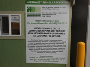 Dealer's Supply Roof Shingle Recycling Facility