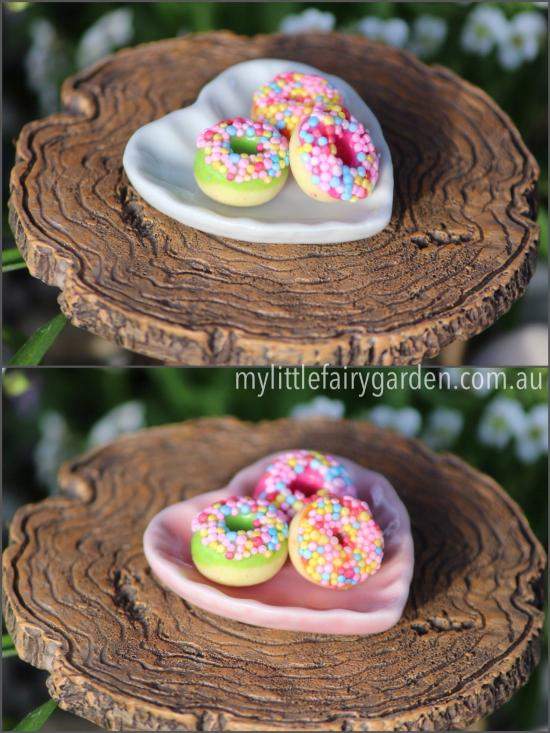 Miniature Donuts on Heart Plate Fairy Garden