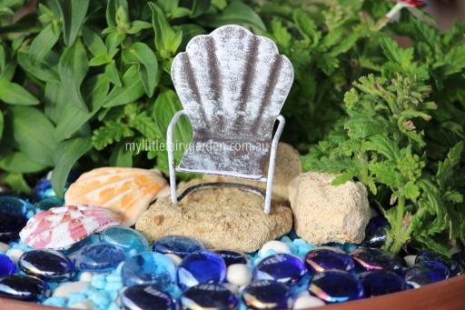 Miniature White Glider Chair Fairy Garden