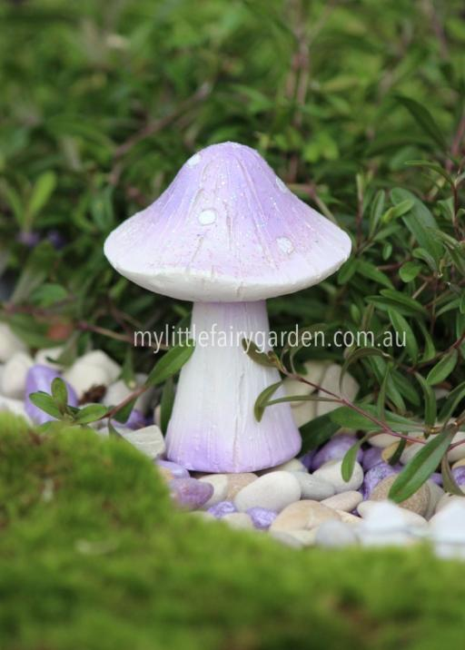 Miniature Mauve Glitter Toadstools Fairy Garden