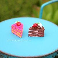 Strawberry Chocolate Cream Cake Slice Miniature Fairy Garden