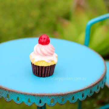 Strawberry Cream Cupcake Miniature Fairy Garden