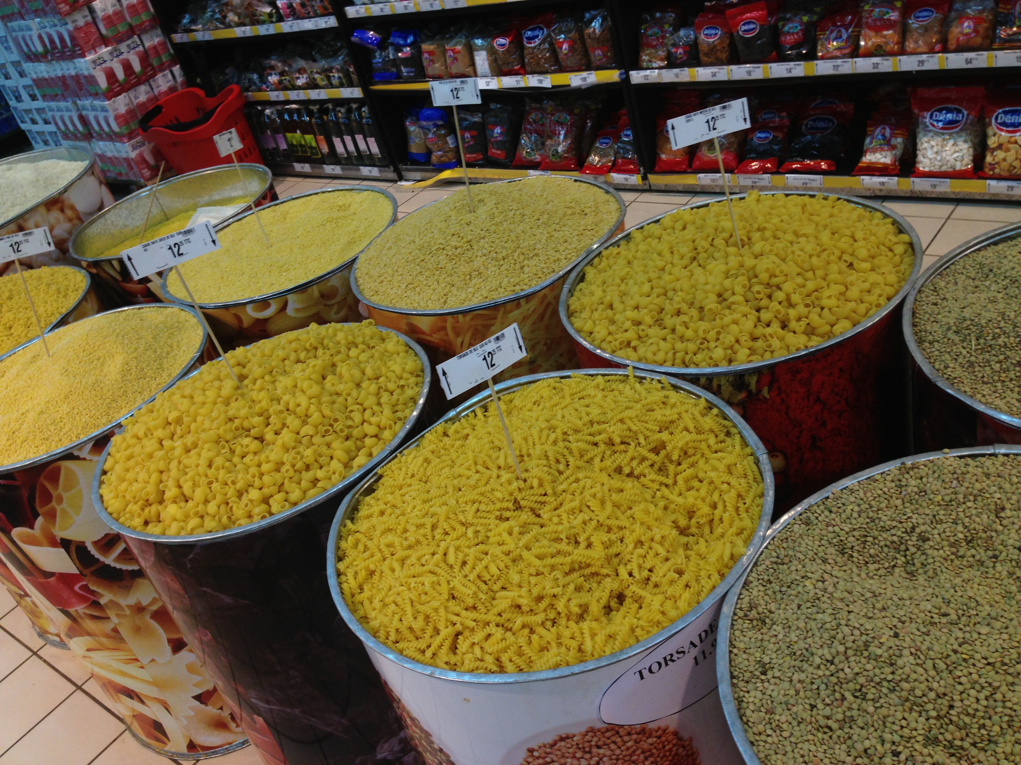 Beans and Pasta in Moroccan market