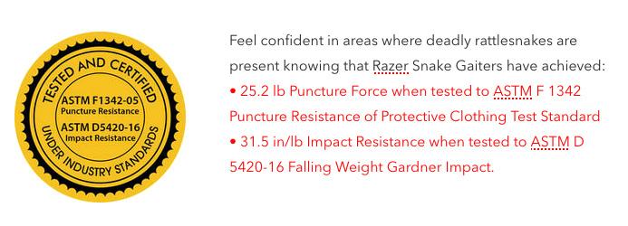 Razer gaiters puncture certification