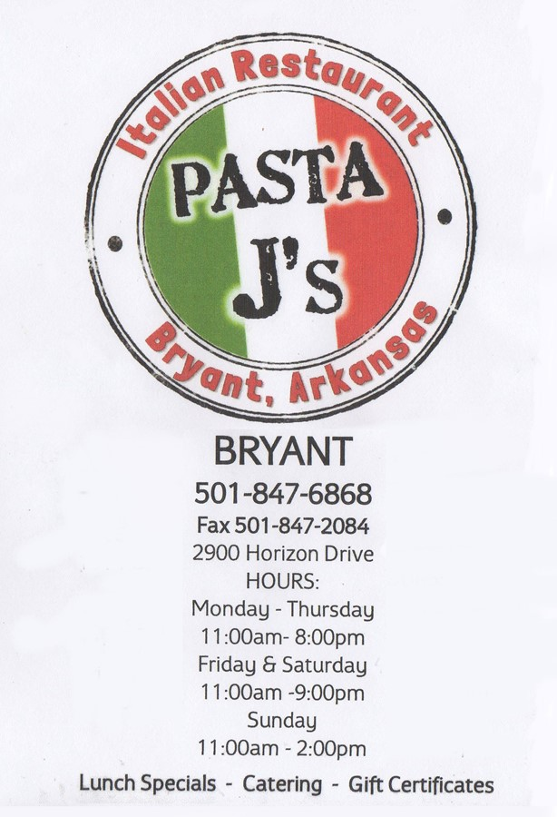 Pasta J's Menu Cover