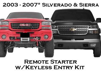 2003 - 2007 Chevrolet Silverado GMC Sierra Remote Starter Kits