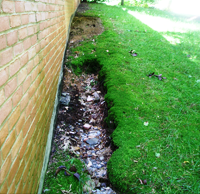 Image result for erosion from gutter overflow pictures