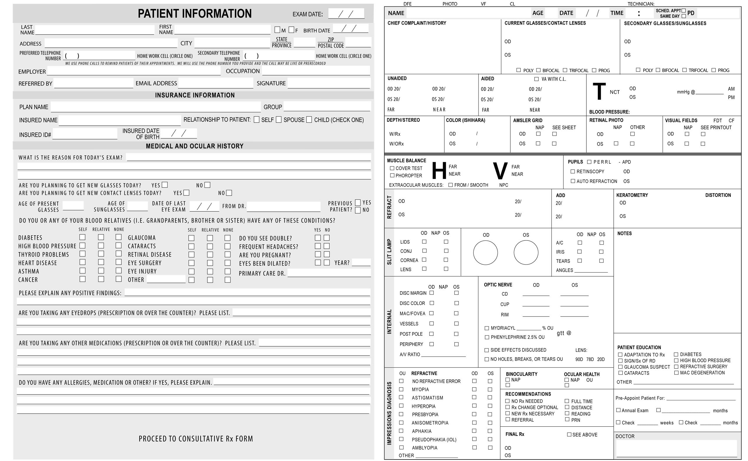 Keskes printing optometrists for Ophthalmology exam template