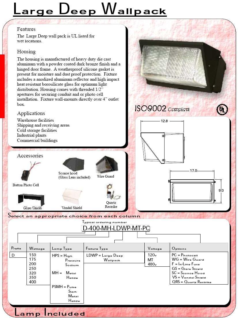 400 watt metal halide wall pack
