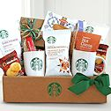 Gift baskets loaded with gourmet coffee and tea.