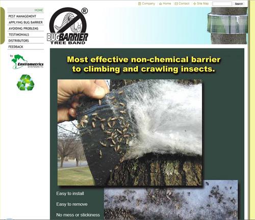Bugbarrier Tree Band webpage