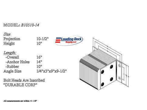 B10510-14 - Dock Bumper 10 1/2 x 10 x 14