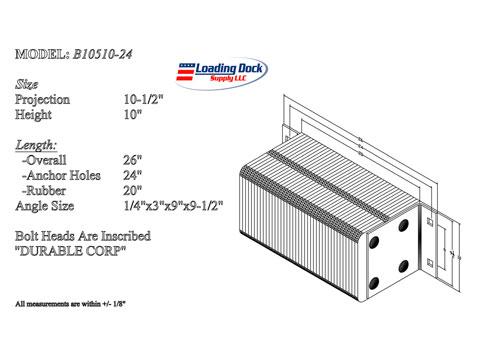 B10510-24 - Dock Bumper 10 1/2 x 10 x 24