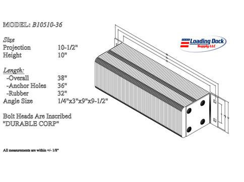 B10510-36 - Dock Bumper 10 1/2 x 10 x 36