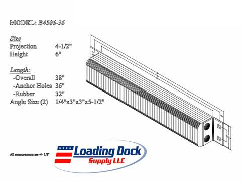 4.5 x 6 x 36 Laminated Dock Bumper