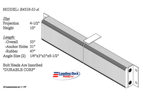 4.5 x 10 x 51    Durable Extra Length Dock Bumper