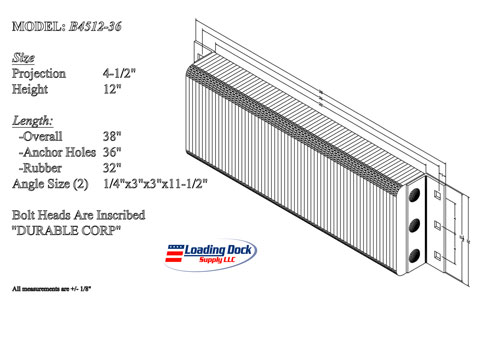4.5 x 12 x 36  Laminated Dock Bumper