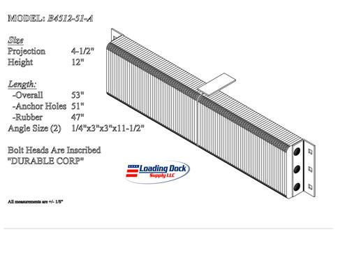 4.5 x 12 x 51  extra length Loading Dock Bumper -
