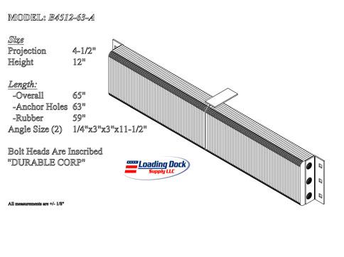4.5 x 12 x 63   Extra Length Dock Bumper