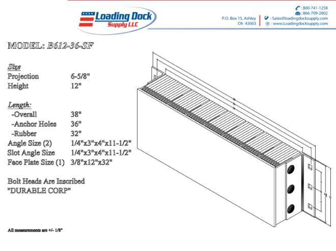 Steel Faced Dock Bumpers B612-36-SF