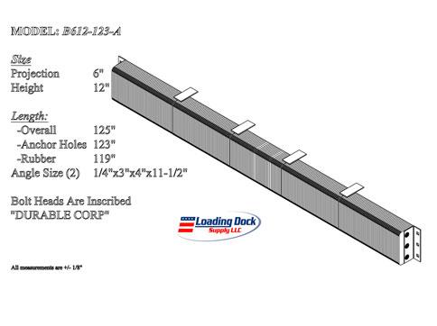 6 x 12 x 123 Extra Length Dock Bumper