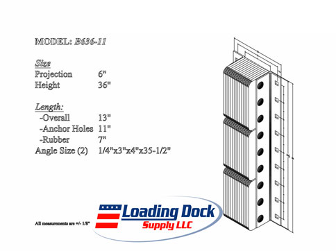 6 x 36 x 11  Laminated Dock Bumpers