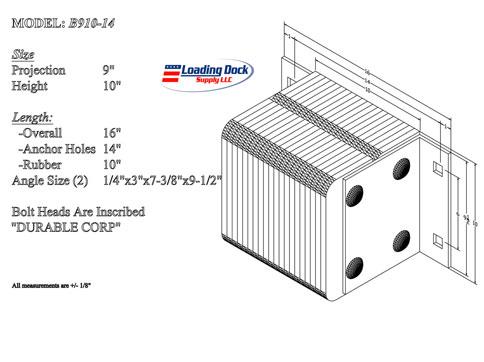 B910-14 - Dock Bumper 9 x 10 x 14