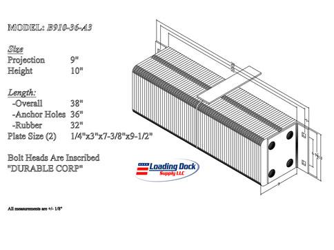 B910-36 - Dock Bumper 9 x 10 x 36