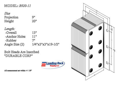 B920-11 - Dock Bumper 9 x 20 x 11