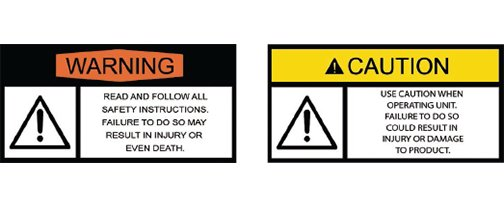 Leveler warning labels