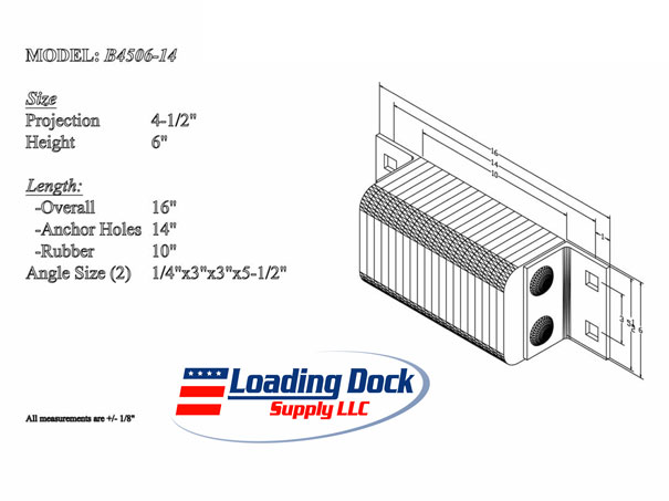 4.5 x 6 x 14 Laminated Dock Bumper