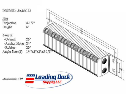 4.5 x 6 x 24 Laminated Dock Bumper