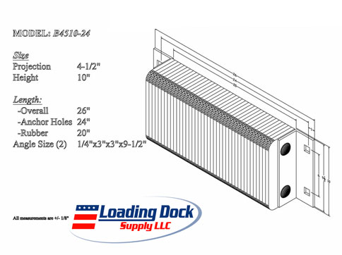 4.5 x 10 x 24 Laminated Dock Bumper