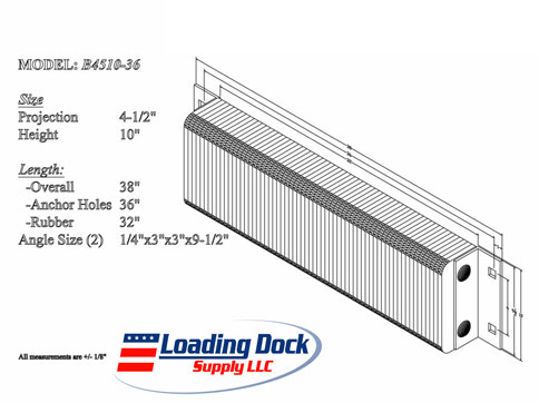 4.5 x 10 x 36 Laminated Dock Bumper