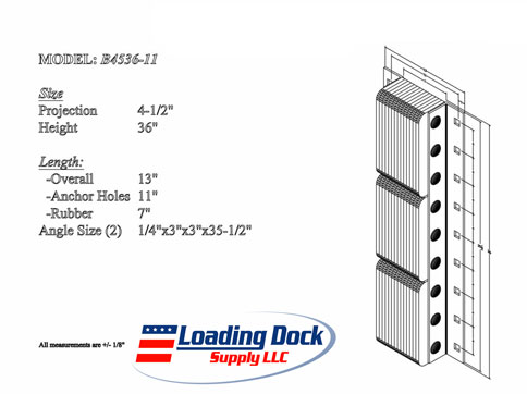 4.5 x 36 x 11 Loading Dock Bumpers