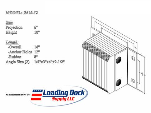 6 x 10 x 12 Laminated Dock Bumper