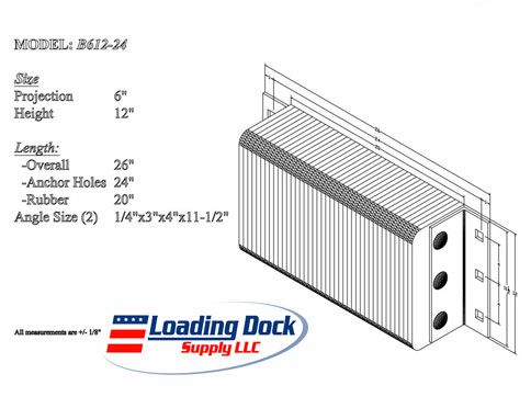 6 x 12 x 24 Laminated Dock Bumpers