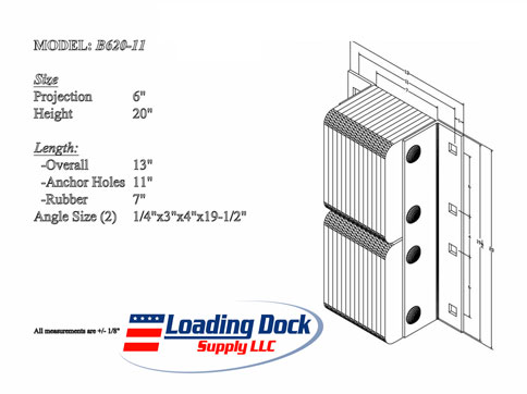 6 x 20 x 11  laminated Dock Bumper