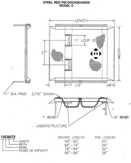 Red Pin steel dock board drawing