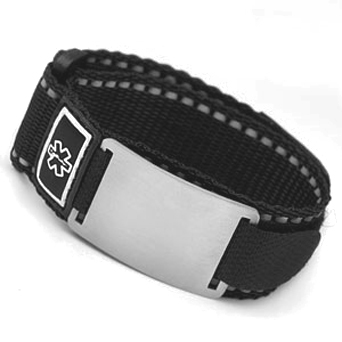 Large Black Medical ID Sports Straps