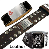 Mens Leather Medical Bracelets
