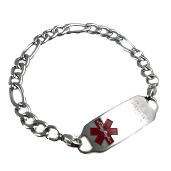 Ladies Stainless Figaro Link Medical ID Bracelets