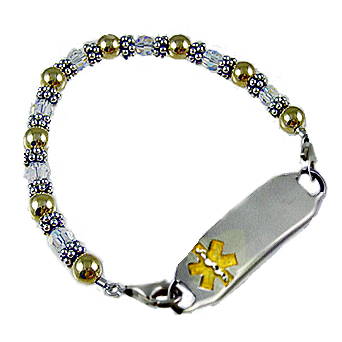 Golden Crystals Medical ID Bracelets