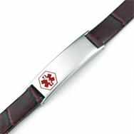 Girls & Ladies Auburn Brown Leather Medical Bracelet