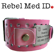 Pink Leather Medical Band