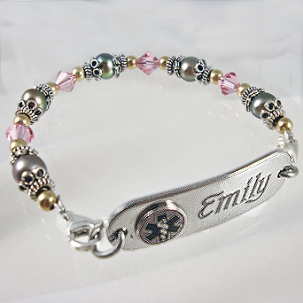 Medical Id Bracelets With Freshwater Pearls